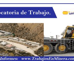 CONVOCATORIA DE TRABAJO DE MINERA LAYTARUMA S.A.