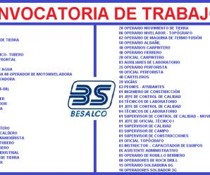 CONVOCATORIA DE TRABAJO PARA JJC BESALCO