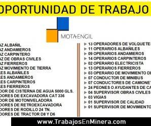 CONVOCATORIA DE TRABAJO PARA MOTA ENGIL
