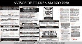 AVISOS DE PRENSA MARZO 2020 - Reclutamiento Minero