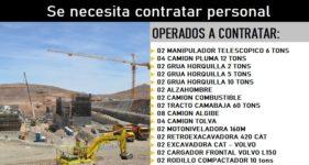 Se necesita Contratar personal  para operar equipos dentro de contrato minero