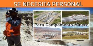 OFERTAS LABORALES PARA Campamento Minero