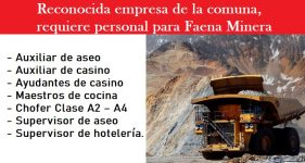 Reconocida empresa , requiere para faena minera de Zona Norte sistema de turnos 10x10 y 7x7