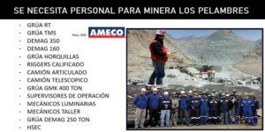 AMECO CHILE SE ENCUENTRA EN BUSCA DE PERSONAL PARA MINERA LOS PElAMBRES
