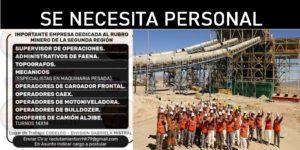 IMPORTANTE EMPRESA RUBRO MINERO NECESITA PERSONAL