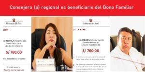 Consejero y Consejera regional es beneficiario del Bono Familiar Universal de S/760