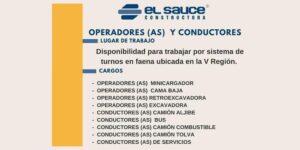 SE NECESITA OPERADORES (AS) Y CONDUCTORES DE EQUIPO