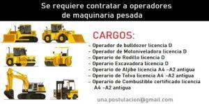 Empresa de Servicios a la Minería requiere contratar a operadores de maquinaria pesada