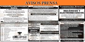 AVISOS PRENSA | Datos de Pegas
