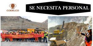 SE NECESITA PERSONAL PARA La Corporación Nacional del Cobre de Chile