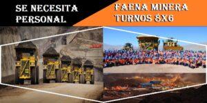 OFERTAS LABORALES PARA FAENA MINERA TURNOS 8X6