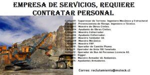 Empresa de Servicios, requiere contratar Personal proyecto en la ciudad de Antofagasta