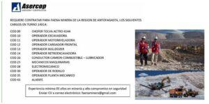 ASERCOP REQUIERE CONTRATAR PARA FAENA MINERA DE LA REGION DE ANTOFAGASTA TURNO 14X14