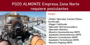 POZO ALMONTE Empresa Zona Norte requiere postulantes