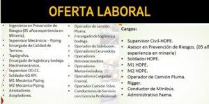 OFERTA LABORAL PARA EMPRESA DEL RUBRO DE MANTENIMIENTO, CONSTRUCCIÓN Y MONTAJE INDUSTRIAL
